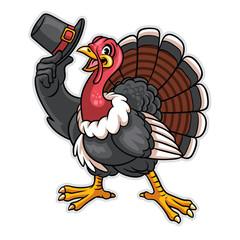 turkey cartoon character hold the hat