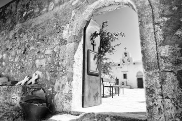 Entrance of an old orthodox monastery in Crete, Greece