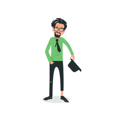 Exhausted and completely wiped out cartoon guy in casual clothes, gesturing. Vector illustration. Modern flat design.