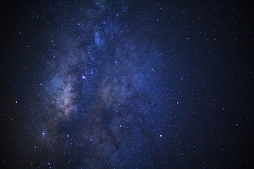 Milky way galaxy with stars and space dust in the universe, Long exposure photograph, with grain.