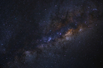 The Center of Milky way galaxy with stars and space dust in the universe, Long exposure photograph, with grain.