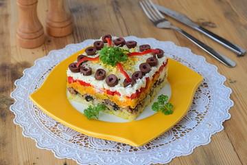Mimosa salad. Russian traditional