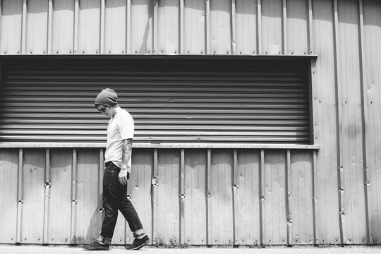 Young guy walking - Black and White