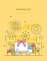 Shopping Line Illustration
