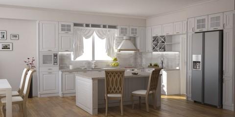 3D Render. CLassic kitchen in white with kitchen island