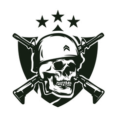 Skull soldier army vector logo design illustration