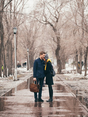A couple embracing in the park