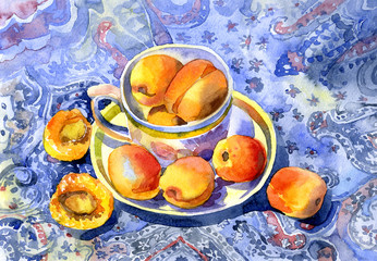 Tasty, appetizing, ripe, warm, meadow apricots, peaches, cherry plum in a mug on a multi-colored tablecloth on the table for breakfast. Illustration. Watercolor