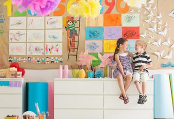 Happy Preschoolers at the Kindergarten