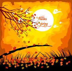 Happy Thanksgiving Day. Fall under the moonlight