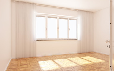 Beautiful white and bright room with sun light passing through, decorated with white clean curtain and wooden parquet floor, Vintage style, 3d illustration, 3d render.