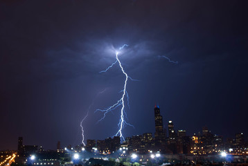 Lightning over the city of Chicago