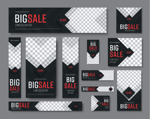 set of black web banners of standard sizes for sale with a place for photos
