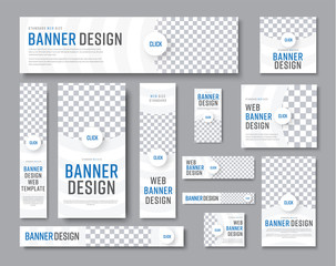 Design of white banners of standard sizes with a place for a photo