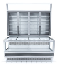 Refrigerated showcase front view. 3d image isolated on white.