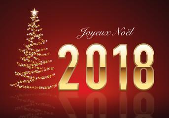 2018 - carte de vœux - joyeux noël - vœux - sapin - guirlande - noël - élégante - classique