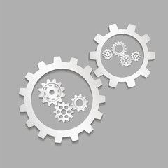 Set of gears on a gray background. Vector illustration.