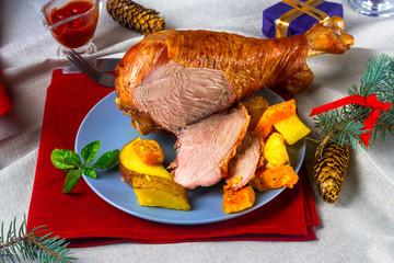 portion of a Christmas turkey on a festive table