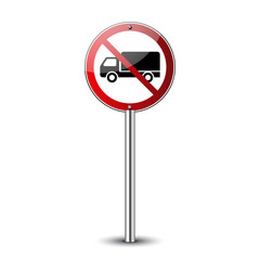 No truck sign. Forbidden red road sign isolated on white background. Glossy black no truck icon. Truck restriction symbol. No parking truck. No lorry. Guidepost metal pole Vector illustration