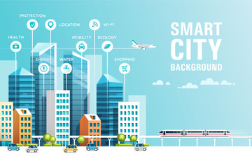Urban landscape with buildings, skyscrapers and transport traffic. Concept of smart city with different icons. Vector illustration. Fotoväggar