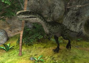 3D Rendering Dinosaur Monolophosaurus