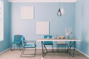 Bright dining room interior in blue walls room