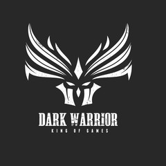 skull and warrior logo template, Rock music logo template.
