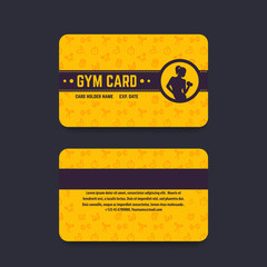 fitness club, gym card vector template