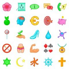 Pennant icons set, cartoon style