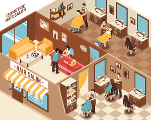 Barbershop Isometric Illustration