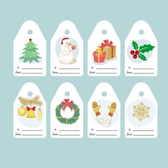 set of Christmas gift tags with bright pictures