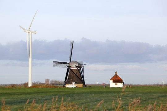 Old and new windmill