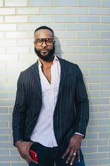 Bearded black man portrait in hard light