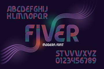 "Vector geometric font named ""Fiver"" made from five gradient color lines"