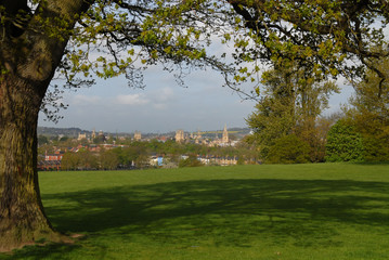 View of Oxford from the upper part of South Park in spring