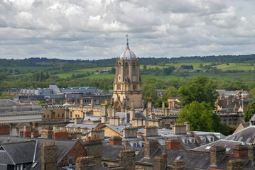View of Tom Tower of Chist Church College from University Church, Oxford