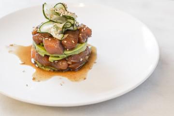 Salmon tartar dish