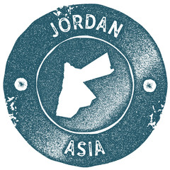 Jordan map vintage stamp. Retro style handmade label. Jordan badge or element for travel souvenirs. Rubber stamp with country map silhouette. Vector illustration.