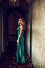 beautiful woman princess wearing long green dress