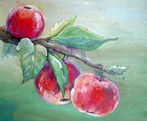 Apples branch paintings, oil paint, art