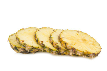 pineapple slice cut isolated on white background