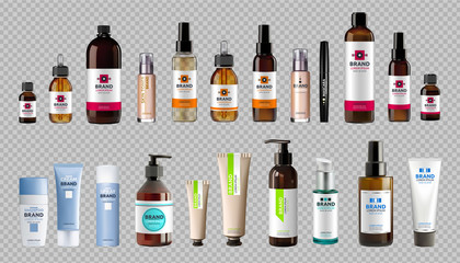 Digital Vector Realistic Bottles Mockup