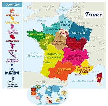 Carte de France vectorielle. Nouvelles régions depuis 2016 avec situation des Dom-Tom sur un planisphère. Illustration II.