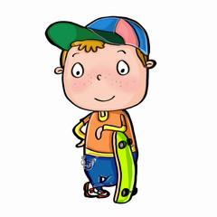 cute boy standing  and skeateboardü
