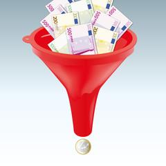 Entonnoir - concept - argent - impôt - taxe -investissement - symbole - monnaie
