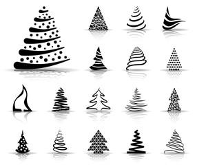Weihnachtsbaum Iconset - Schwarz (Schatten)