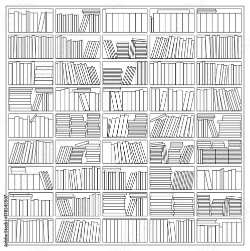 Books On A Bookshelf Outline Vector Drawing Of