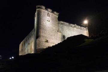 Sabiote village castle at night, Jaen, Spain