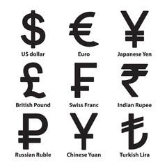 Currencies symbol icons set. Vector.