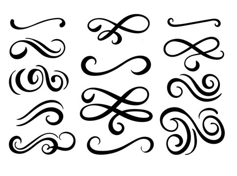Set of hand drawn flourish elements. Vector illustration.